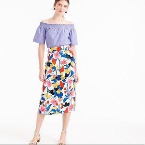 NWOT J.Crew Floral Midi Pencil Skirt